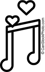 Honeymoon music icon, outline style