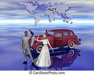 Honeymoon, newly weds.