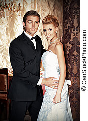 honeymoon - Charming bride and groom on their wedding...