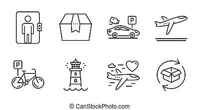 Honeymoon travel, Package box and Departure plane icons set. Parking security, Lighthouse and Elevator signs. Vector