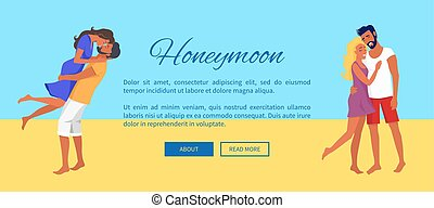 Honeymoon Web Banner with Lovely Hugging Couples