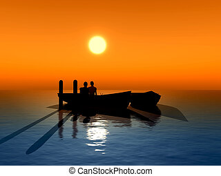 Honeymoon - Young couple fallen in love sitting in a boat...