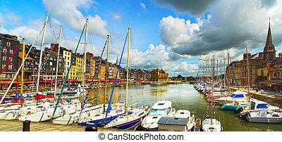 honfleur, horisont, hamn, fartyg, och, water., normandie,...