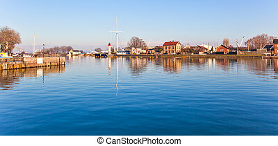 honfleur, kikötő, alatt, normandia, franciaország
