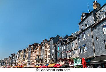 honfleur., kikötő, franciaország, hagyományos, épület, normandia
