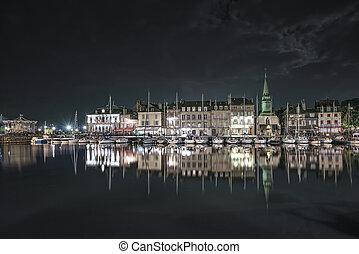 honfleur, night., horisont, hamn, och, vatten, reflex.,...