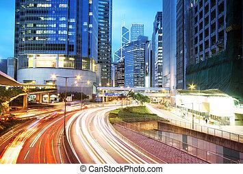 hong, área, kong, céntrico, tráfico, camino