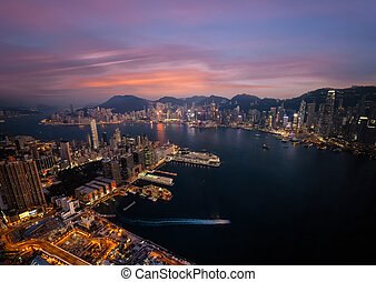 hong , βράδυ , εναέρια , λιμάνι , βικτόρια , γραμμή ορίζοντα , kong , βλέπω