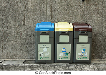 hong, リサイクル, 大箱, kong