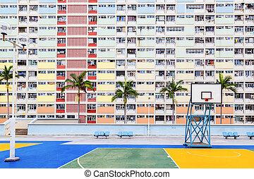hong, 古い, 財産, 住宅の, kong, 公衆