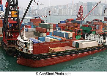 hong, 容器, ある, -, 港, ビクトリア, ターミナル, てんま船, 荷を積まれる, kong, 容器