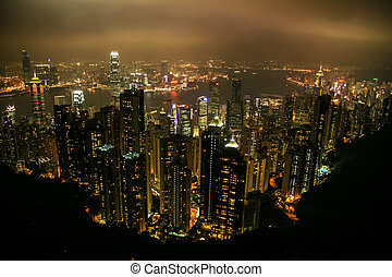 hong, 航空写真, kong, アジア, 陶磁器, 光景