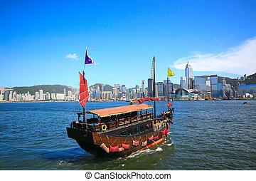 hong, 都市, 帆, アジア, kong, ボート