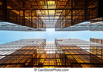 hong, 오피스 빌딩, 비추는, kong, 대칭
