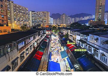 hong, antigas, kong, noturna, housings, mercado
