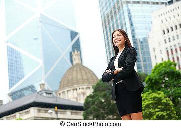 hong, ao ar livre, negócio, kong, confiante, mulher