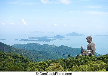 hong, b, kong, eiland, lin, reus, boeddha, klooster, po,...
