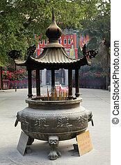 hong, boeddhist, brander, wierook, kong, tempel