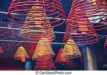 hong, boeddhist, wierook, kong, spiralen, tempel