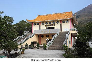 hong, bronzage, kong, bouddhiste, tian, porcelaine, temple
