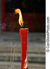 hong, burning, kong., boeddhist, kaarsje, tempel