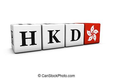 hong, código, dólar, kong, moneda, hkd