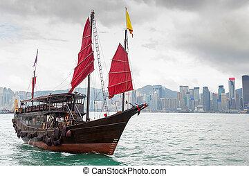 hong, chinois, port, voilier, kong, landscape:, victoria