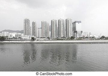 hong, city., ceci, projection, saturation, kong, en ville,...