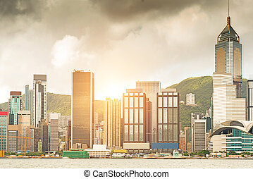 hong , city., kong's, μοντέρνος , λιμάνι , ανατολή , ομίχλη , ασιάτης , βικτόρια