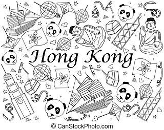 hong, colorido, ilustración, kong, vector, libro