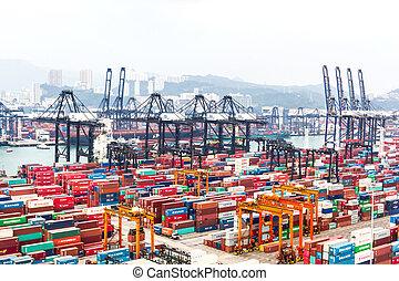 hong, comercial, puerto, contenedores, kong