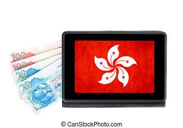 hong, concepto, tableta, showin, kong, depositar línea, electrónico