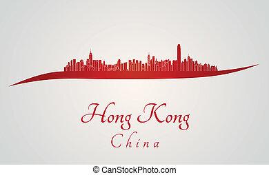 hong, contorno, rojo, kong