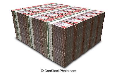 hong, dólar, notas, manojos, kong, pila