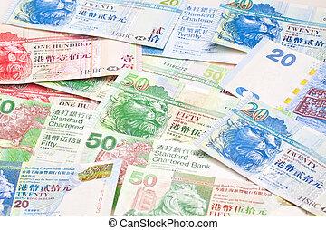 hong, dólares, diferente, kong, moneda, plano de fondo