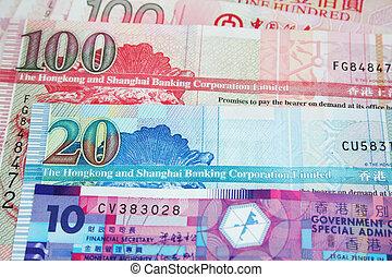 hong, dólares, kong