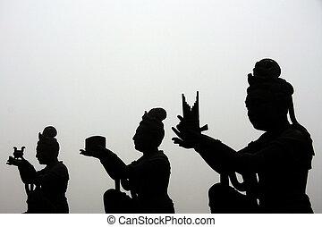 hong, dao, kong, tian, (géant, buddha), bronzage