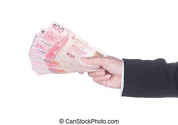 hong, dinero, dólar, aislado, kong, traje, blanco, mano