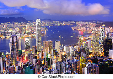 hong, district central, port, kong, horizon, nuit, victoria...