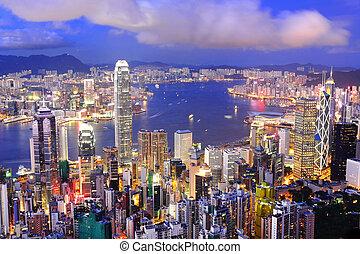 hong, distrito central, puerto, kong, contorno, noche,...