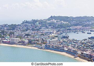 hong, eiland, kong., cheung, chau, heuveltop, aanzicht