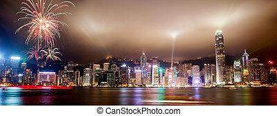 hong, exposition, lumière port, sur, kong, horizon, victoria