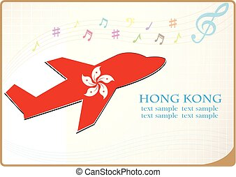 hong, fait, kong, drapeau, avion, icône