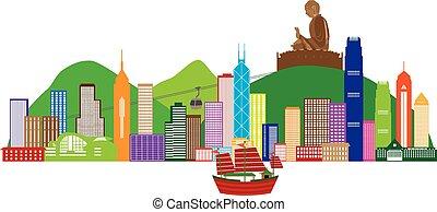 hong, farbe, abbildung, kong, skyline, buddha, statue