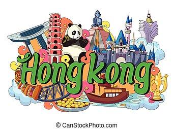 hong, garabato, actuación, kong, cultura, arquitectura