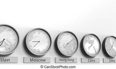hong, horloge, kong, projection, dans, animation, porcelaine, temps, conceptuel, mondiale, rond, zones., 3d