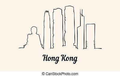 hong, illustration., スタイル, kong, スケッチ, 線, 1(人・つ)