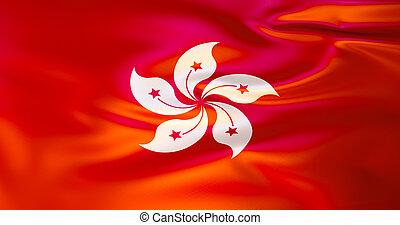 hong, ilustración, kong, bandera, viento, 3d
