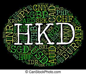 hong, indica, dólar, kong, moneda, invención, hkd