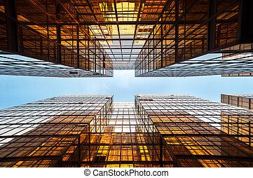 hong, kantoorpanden, weerspiegelde, kong, symmetrisch